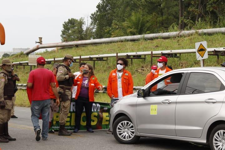 Petroleiros realizam ato em frente à Rlam desde às 7h desta quinta-feira (18) (Foto: Sindipetro-BA)